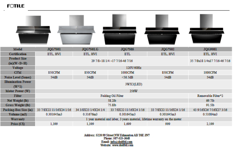 """Picture of FOTILE JQG7502 30"""" Range Hood Under Cabinet/Wall Mount with Mechanical Button /Black"""