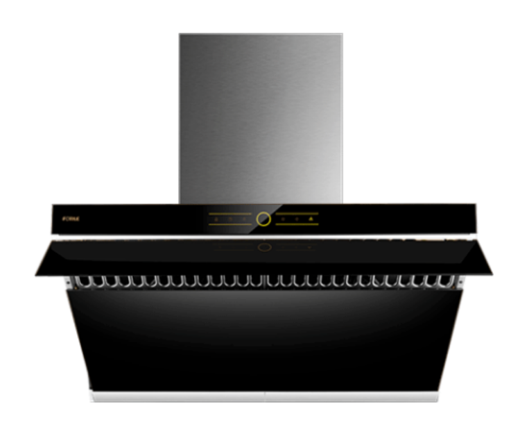 "Picture of FOTILE JQG9001 36"" Range Hood | Unique Side-Draft Design for Under Cabinet or Wall Mount | Modern Kitchen Vent Hood | Powerful Motor | LED Lights | Onyx Black Tempered Glass Surface"